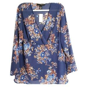 Blue and brown floral plus size blouse